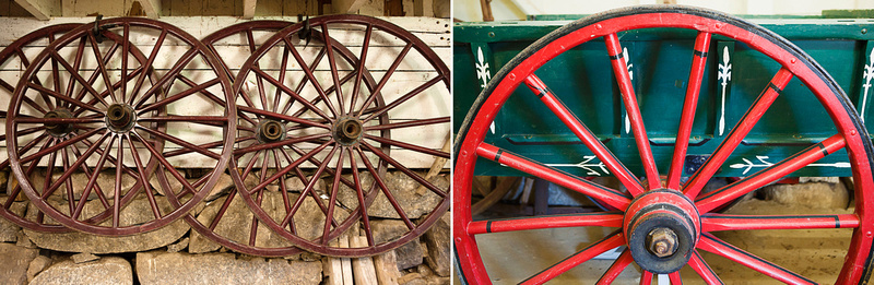 some of the wagon wheels in storage at Ross Farm Museum