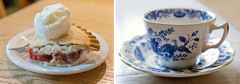 tea and rhubarb pie